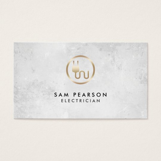 Electrician Gold Electric Plug Icon Business Card