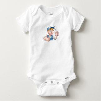 Electrician Handyman Cartoon Character Baby Onesie