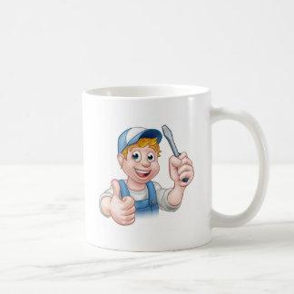 Electrician Handyman Cartoon Character Coffee Mug