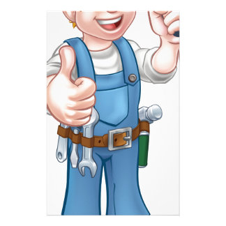 Electrician Handyman Cartoon Character Personalised Stationery