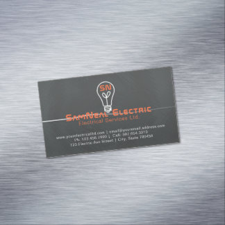 Electrician lightbulb logo magnet business card