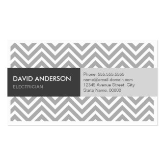 Electrician - Modern Grey Chevron Pack Of Standard Business Cards