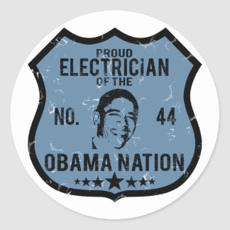 Electrician Obama Nation Classic Round Sticker