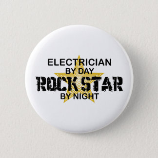 Electrician Rock Star by Night 6 Cm Round Badge