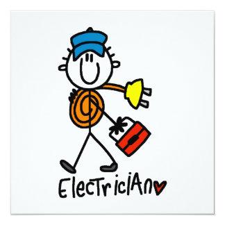 Electrician Stick Figure 13 Cm X 13 Cm Square Invitation Card