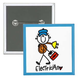Electrician Stick Figure 15 Cm Square Badge