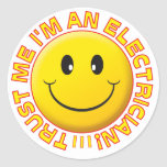 Electrician Trust Me Smiley Round Sticker