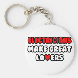 Electricians Make Great Lovers Basic Round Button Key Ring