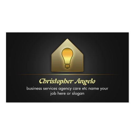 electricity light and house business cards