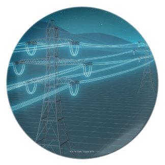 Electricity pylon with glowing power lines 2 plate