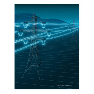 Electricity pylon with glowing power lines 2 postcard
