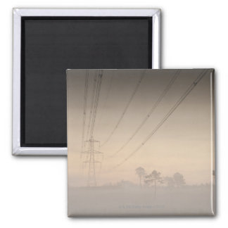 Electricity pylons and cables running square magnet