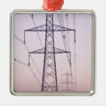 Electricity pylons in mist at dawn. christmas ornaments