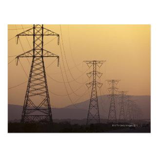Electricity pylons postcard
