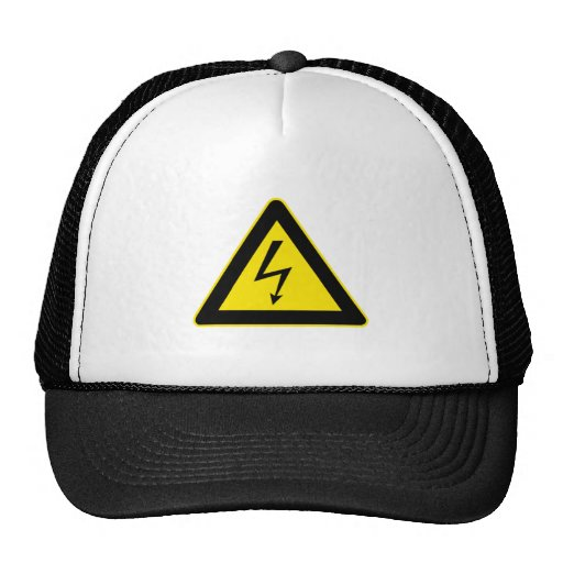 Electricity Warning Sign Trucker Hats