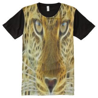 Electrified Cheetah Looking Print All-Over Print T-Shirt