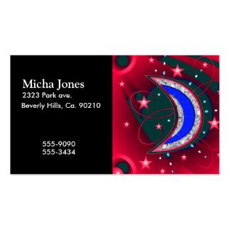 Electrifying Night Crescent Moon & Stars Business Cards