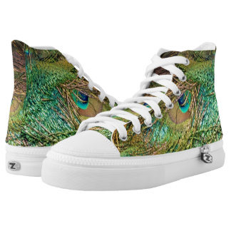 Electrifying Peacock Feathers High Tops