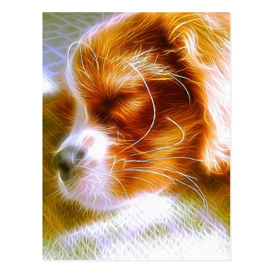 Electrifying Puppy King Charles Spaniel Postcard