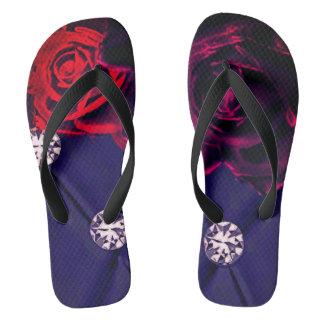 electro diamond rose flip flops