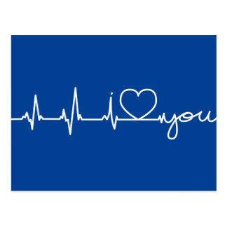 Electrocardiogram postcard white line