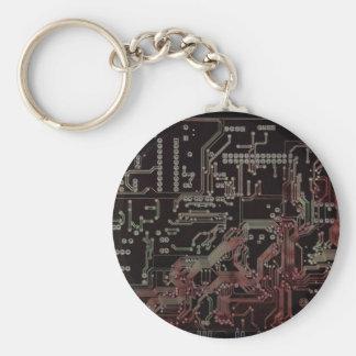 electronic circuit basic round button key ring