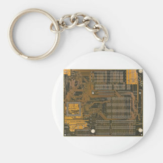 electronic circuit board basic round button key ring