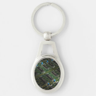 Electronic Geekery Silver-Colored Oval Key Ring