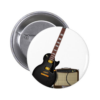 Electronic guitar and amp 6 cm round badge