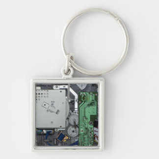 Electronic interior of a laser printer Silver-Colored square key ring