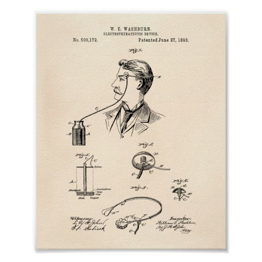 Electrotherapeutic 1893 Patent Art Old Peper Poster