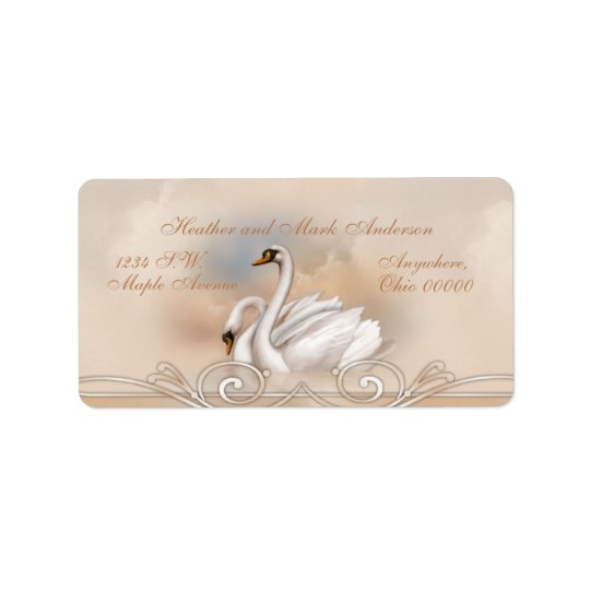 Elegan White Swan Wedding Return Address Labels