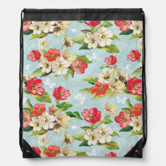 Elegance beige and red flowers pattern drawstring bag