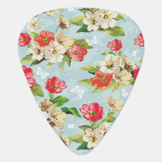 Elegance beige and red flowers pattern guitar pick