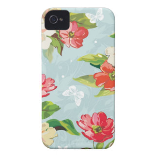 Elegance beige and red flowers pattern iPhone 4 Case-Mate case