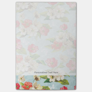 Elegance beige and red flowers pattern post-it notes