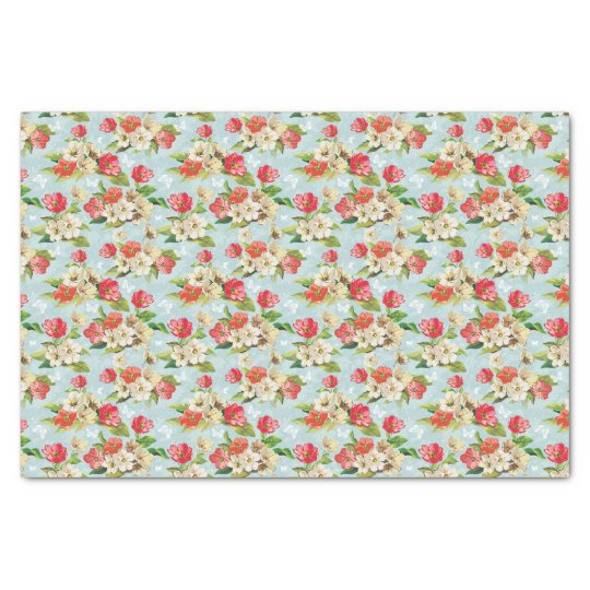 Elegance beige and red flowers pattern tissue paper