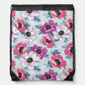 Elegance color flowers pattern on blue drawstring bag