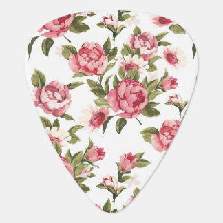 Elegance color peony pattern on white guitar pick