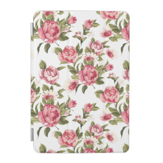 Elegance color peony pattern on white iPad mini cover