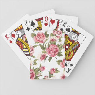 Elegance color peony pattern on white playing cards