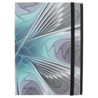 """Elegance, Modern Blue Gray White Fractal Flower iPad Pro 12.9"""" Case"""