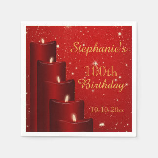 Elegant 100th Birthday Candles With Sparkle Disposable Napkin