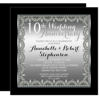 Elegant 10th Silver and Diamonds Anniversary Card