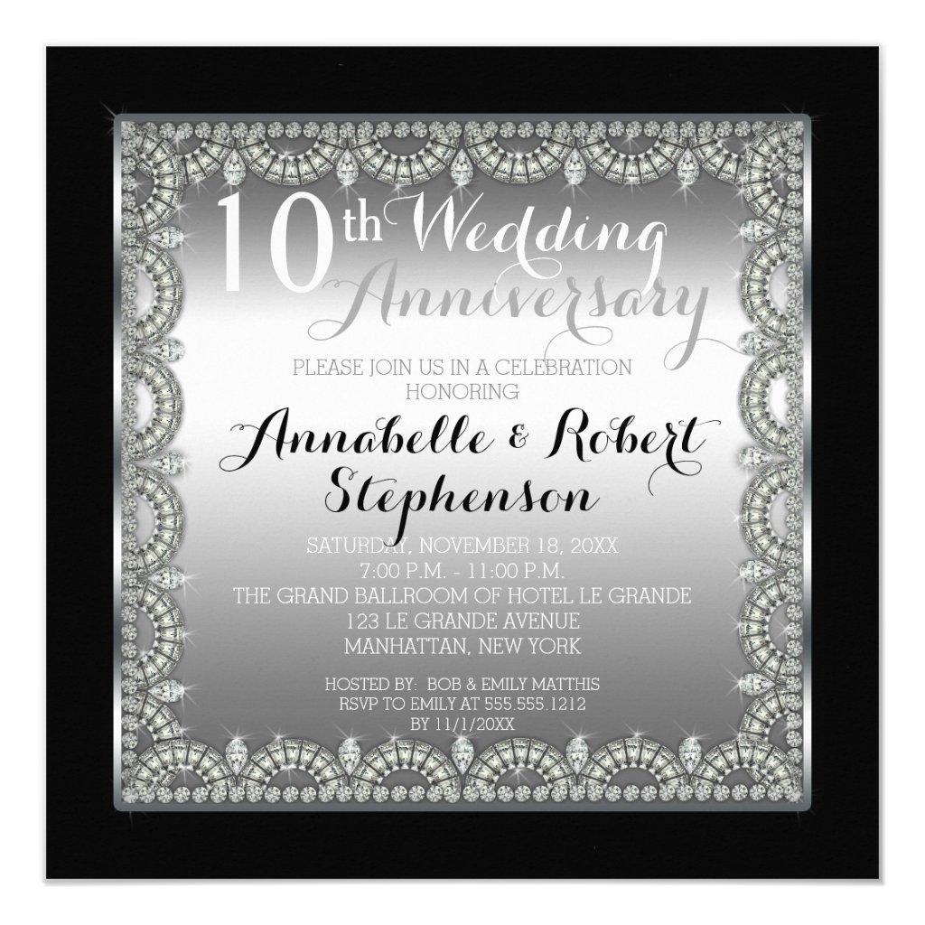 10th Silver and Diamonds Anniversary Card
