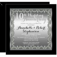 10th wedding anniversary invitations announcements zazzle elegant 10th silver and diamonds anniversary stopboris Images