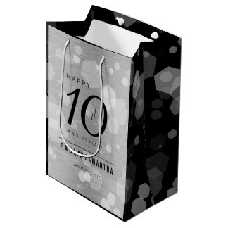 Elegant 10th Tin Wedding Anniversary Celebration Medium Gift Bag