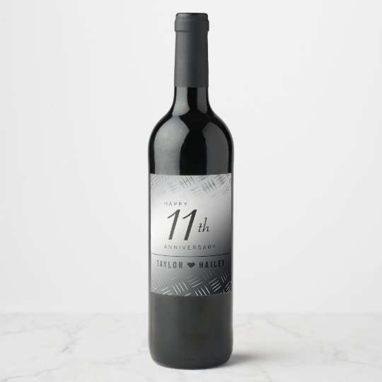 Elegant 11th Steel Wedding Anniversary Celebration Wine Label