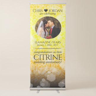 Elegant 13th Citrine Wedding Anniversary Retractable Banner