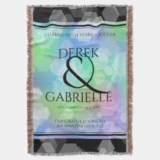Elegant 14th 24th 34th Opal Wedding Anniversary Throw Blanket